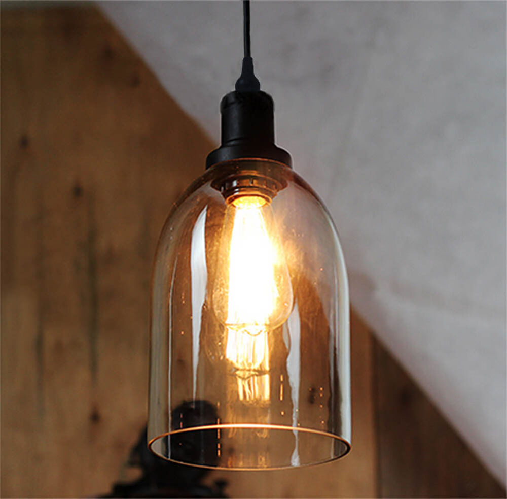 Vintage industrial bell glass shade pendant lamp fixture for Industrial bulb pendant