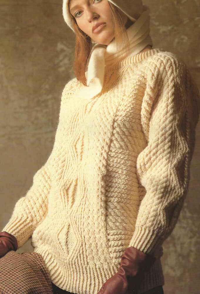 Ladies Aran Sweater Knitting Pattern Diamonds & Cables 30-44