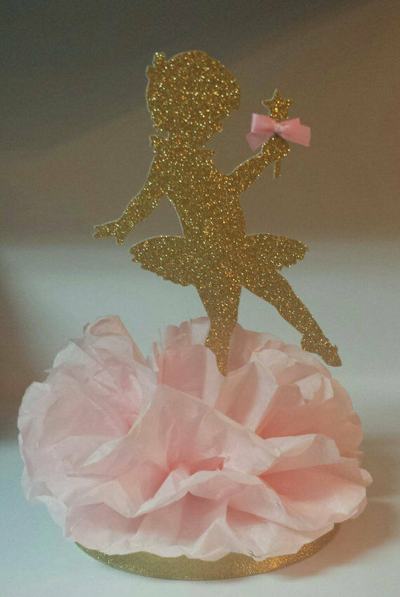 Ballerina pink gold birthday party baby shower centerpiece