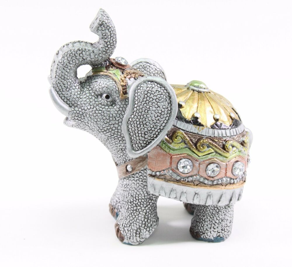 "Elephant Home Decor: Feng Shui 4.5"" Gray Elephant Trunk Statue Lucky Figurine"