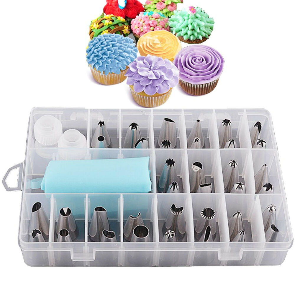 24 PIECES ICING PIPING NOZZLE TOOL SET BOX – CAKE CUPCAKE ...