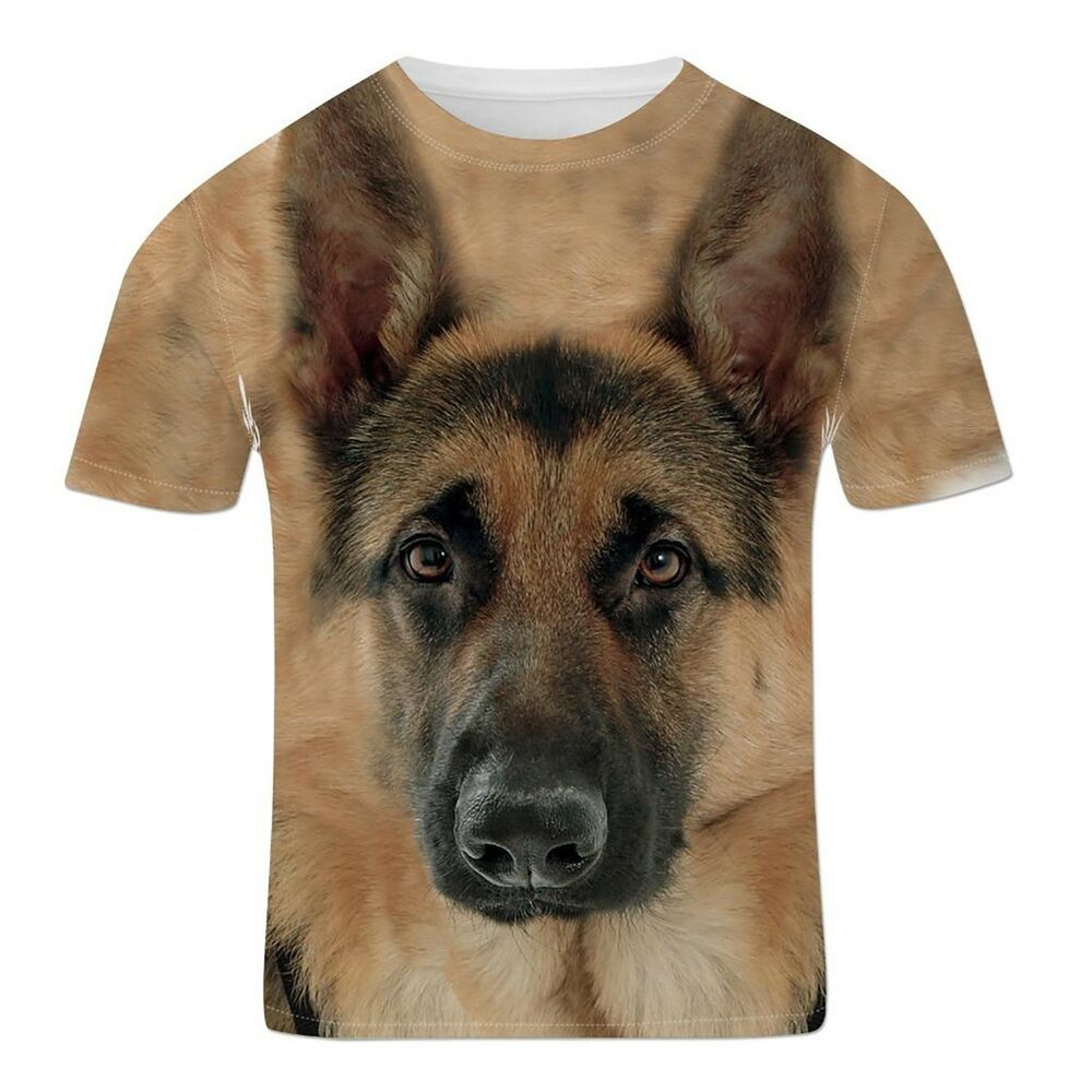 German shepherd alsatian guard police dog cute animal 3d for Dog t shirt for after surgery