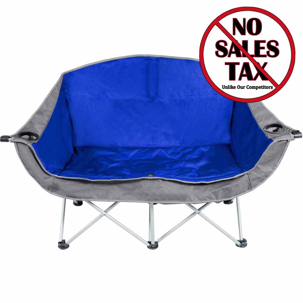 Camping Love Seat 2 Person Outdoor Folding Double Chair Camp Beach Fishing Pa