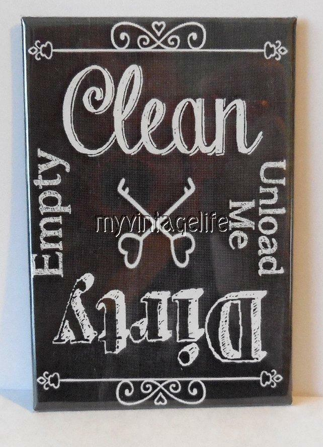 clean dirty empty unload dishwasher chalkboard country 2 x 3 fridge magnet ebay. Black Bedroom Furniture Sets. Home Design Ideas