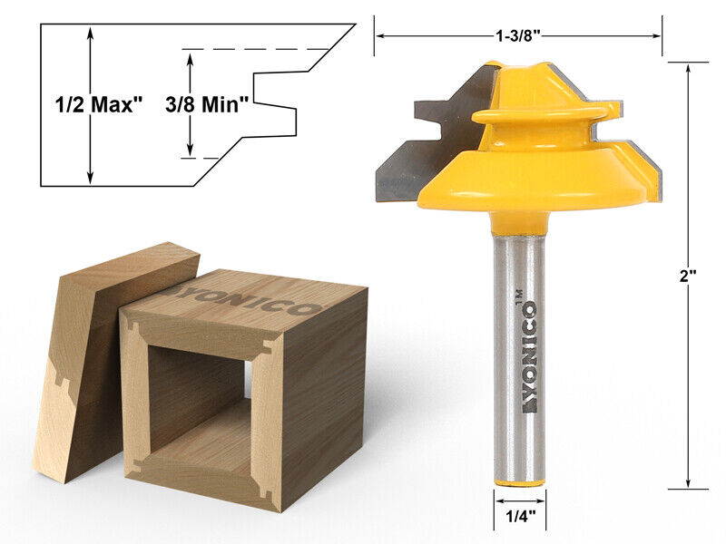 small lock miter router bit 45 1 2 stock 1 4 shank yonico 15129q ebay. Black Bedroom Furniture Sets. Home Design Ideas