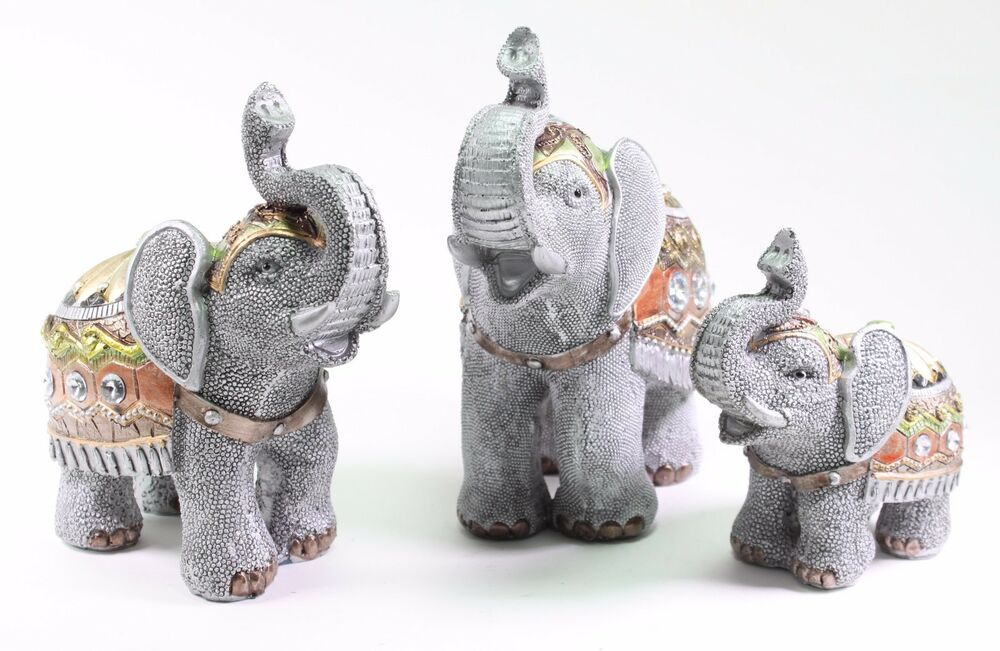 set of 3 feng shui gray elephants trunk statue lucky figurine gift home decor ebay. Black Bedroom Furniture Sets. Home Design Ideas