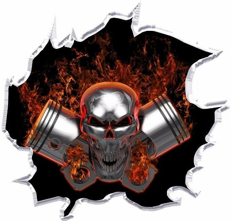 Machine Head Pistons Skull Vinyl Graphic Decal Motorcycle