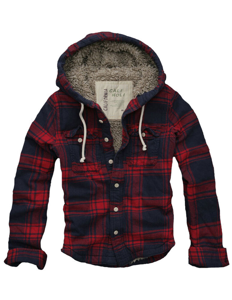 Ship from usa 128 mens faux fur lined flannel checks for Men s hooded flannel shirt jacket