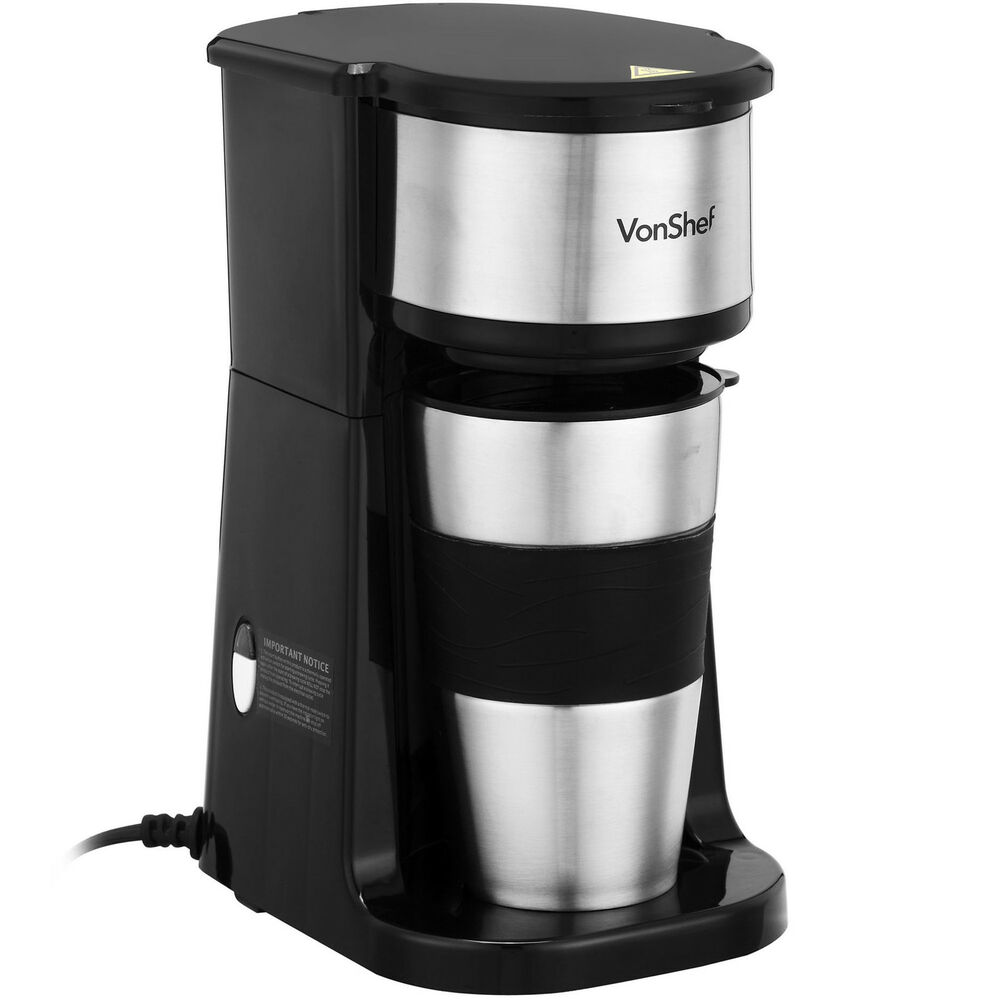 Vonshef Personal Filter Coffee Machine Maker With 420ml Travel Mug Amp Lid Ebay