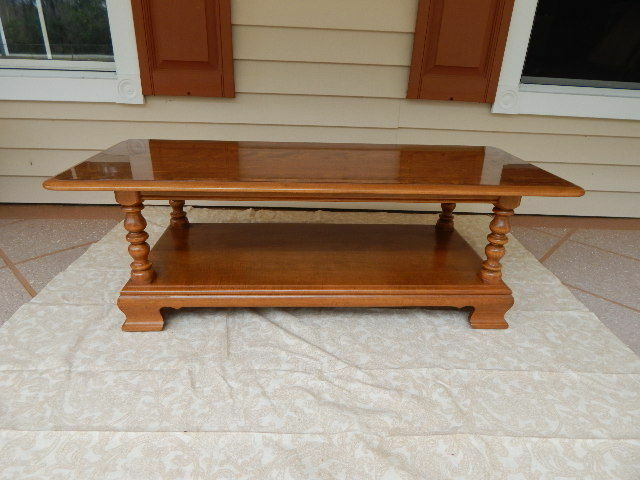 Ethan Allen Heirloom Maple Nutmeg Two Tiered Coffee