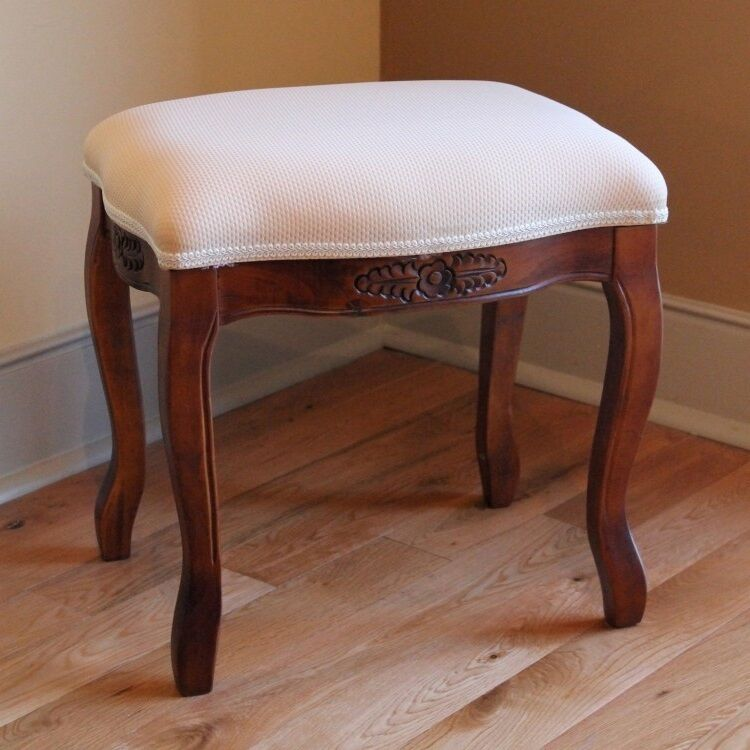 Wood Vanity Stool Ottoman Carved Upholstered Footstool Bench Seat Chair Padded Ebay
