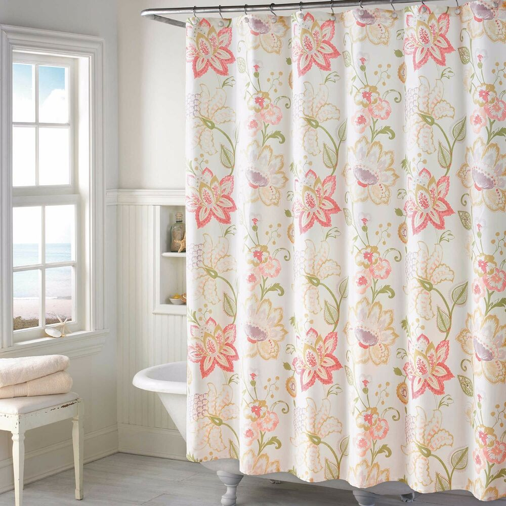 soft spring floral fabric shower curtain french country pink purple green yellow ebay. Black Bedroom Furniture Sets. Home Design Ideas