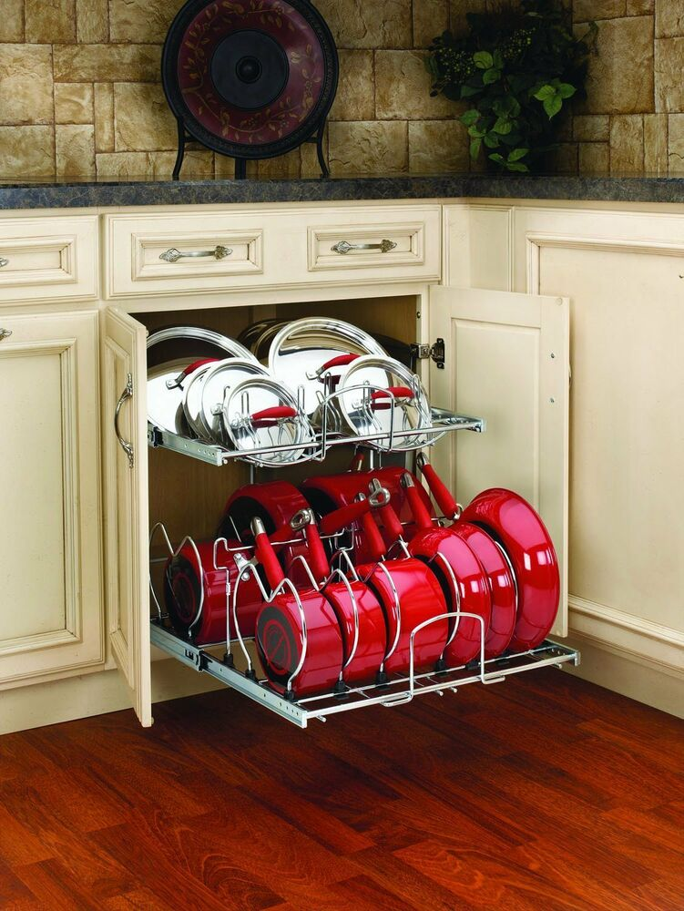 Pull out cabinet rack cookware organizer pots pans lids for Kitchen s hooks for pots and pans