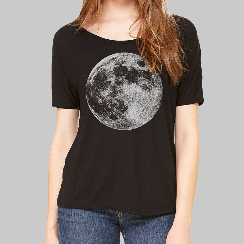 Womens scoop neck t shirts full moon graphic tees plus for Full hand t shirts for womens