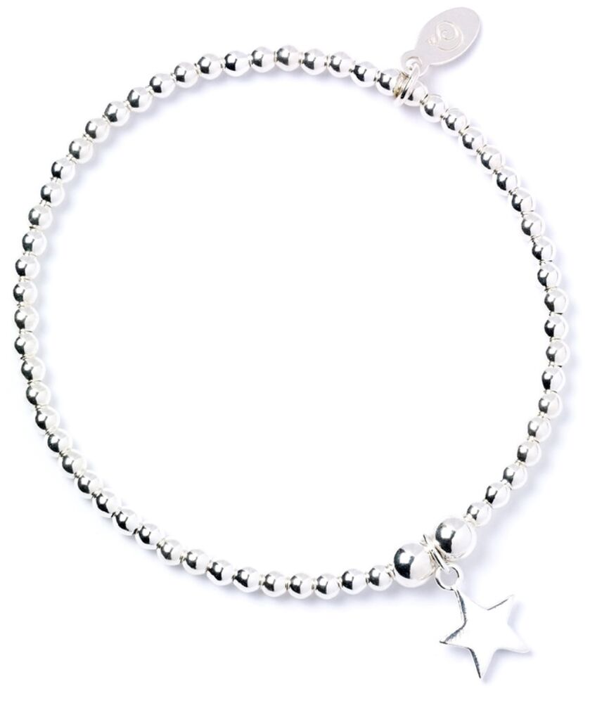 Sterling Silver Charms For Bracelets: 925 Sterling Silver Ball Bead Roodle Bracelet With Star