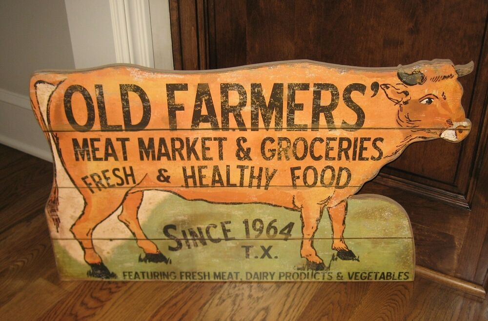 Large cow meat market groceries butcher sign primitive for K kitchen french market
