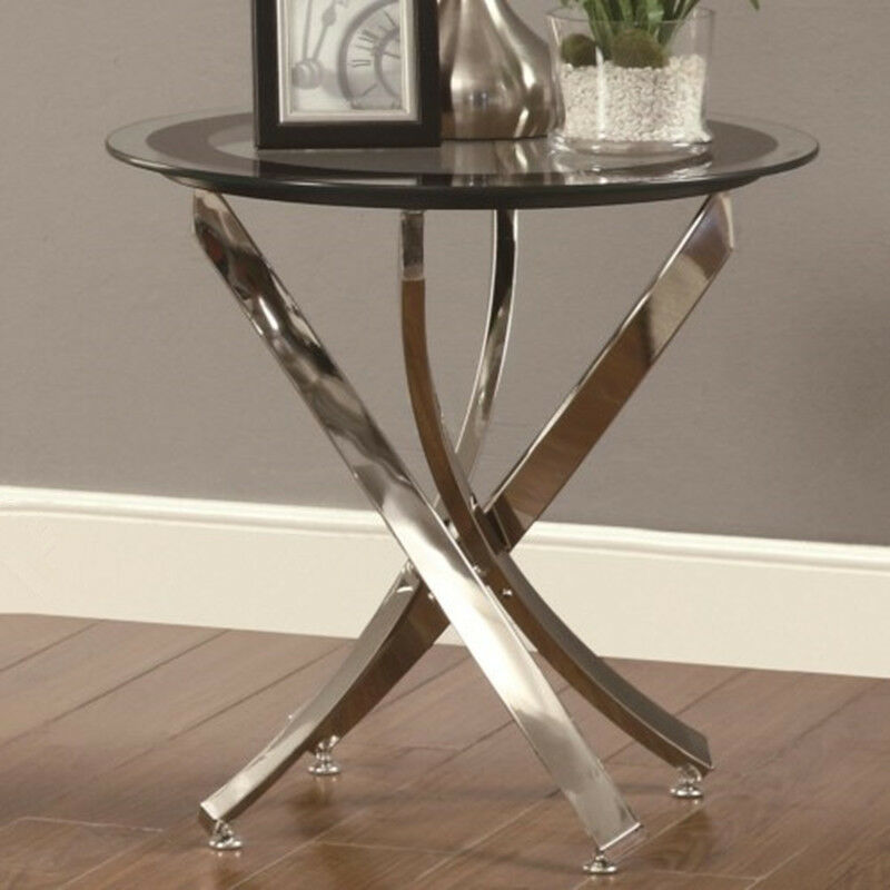Occasional group end table w round tempered glass top for Glass end tables