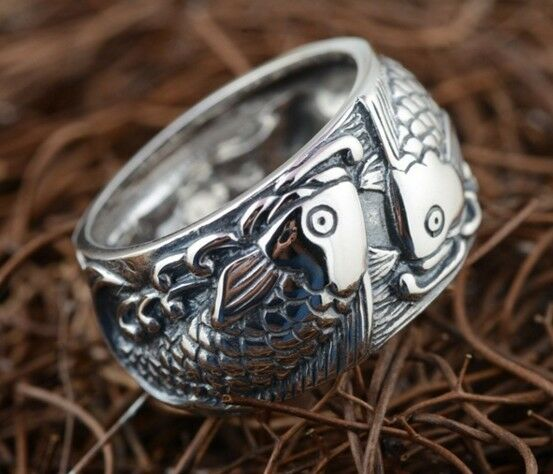 Japanese carp koi fish lucky tattoo ring 925 sterling for Koi fish ring