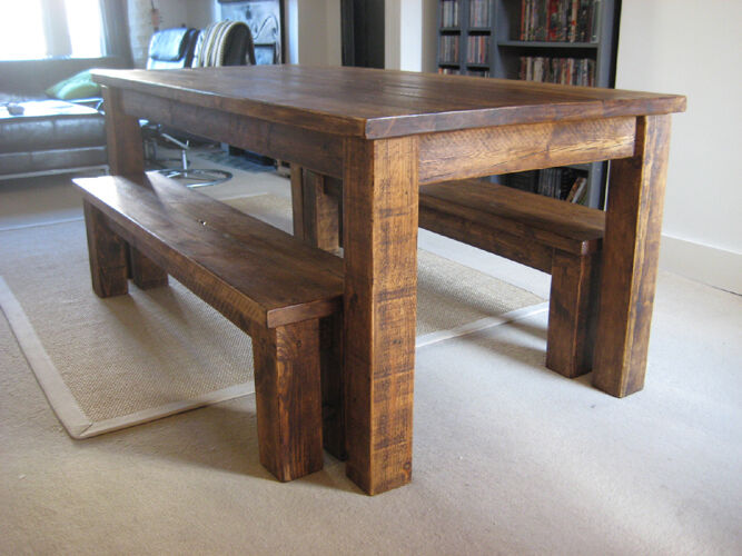 Chunky Solid Wood Plank Wooden Rustic Junction Dining Kitchen Table Bespoke Ebay