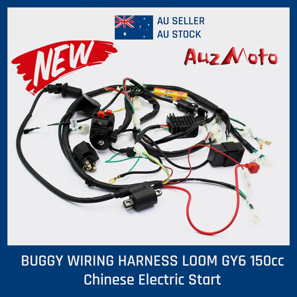 buggy wiring harness gy6 150cc chinese electric start kandi go quad wiring harness 200 250cc chinese electric start loncin zongshen