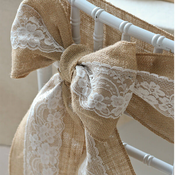 rustic vintage wedding chair cover sashes jute burlap lace