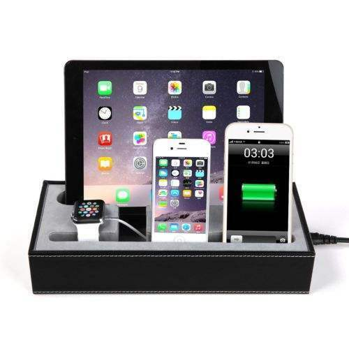 Pu Leather Charging Dock Station For Apple Watch Iphone