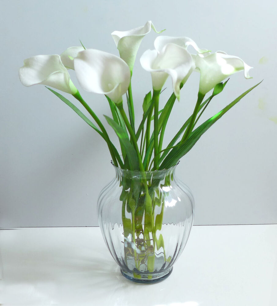 Artificial flowers 9 calla lily orchid grass wedding for Artificial plants for decoration