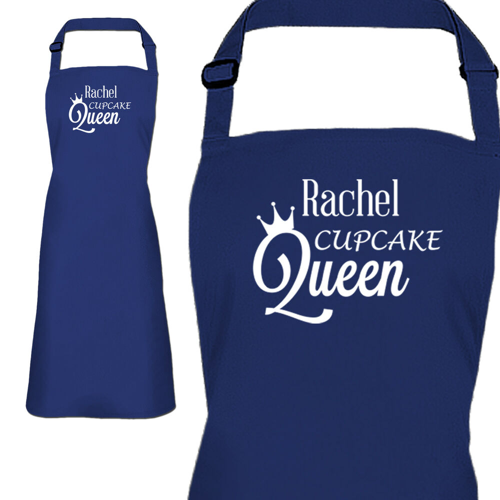 personalised blue ladies cupcake queen apron by inspired creative rh ebay co uk