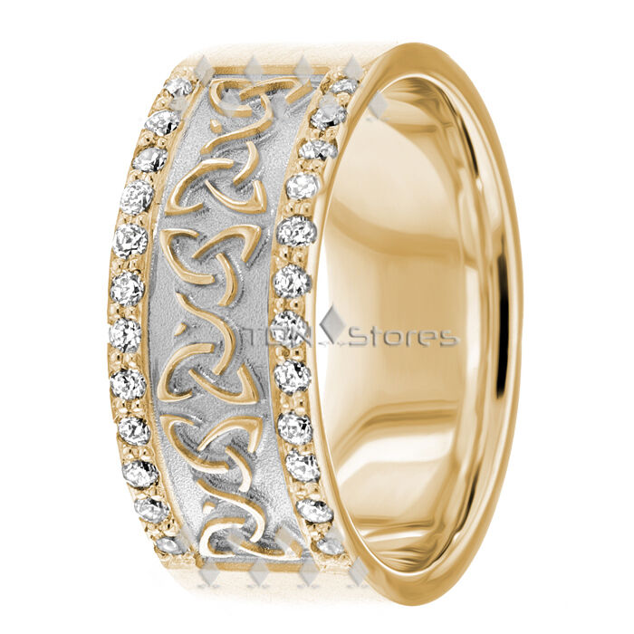 14K GOLD DIAMOND CELTIC WEDDING BANDS RING TRINITY KNOT MENS WEDDING BANDS RINGS