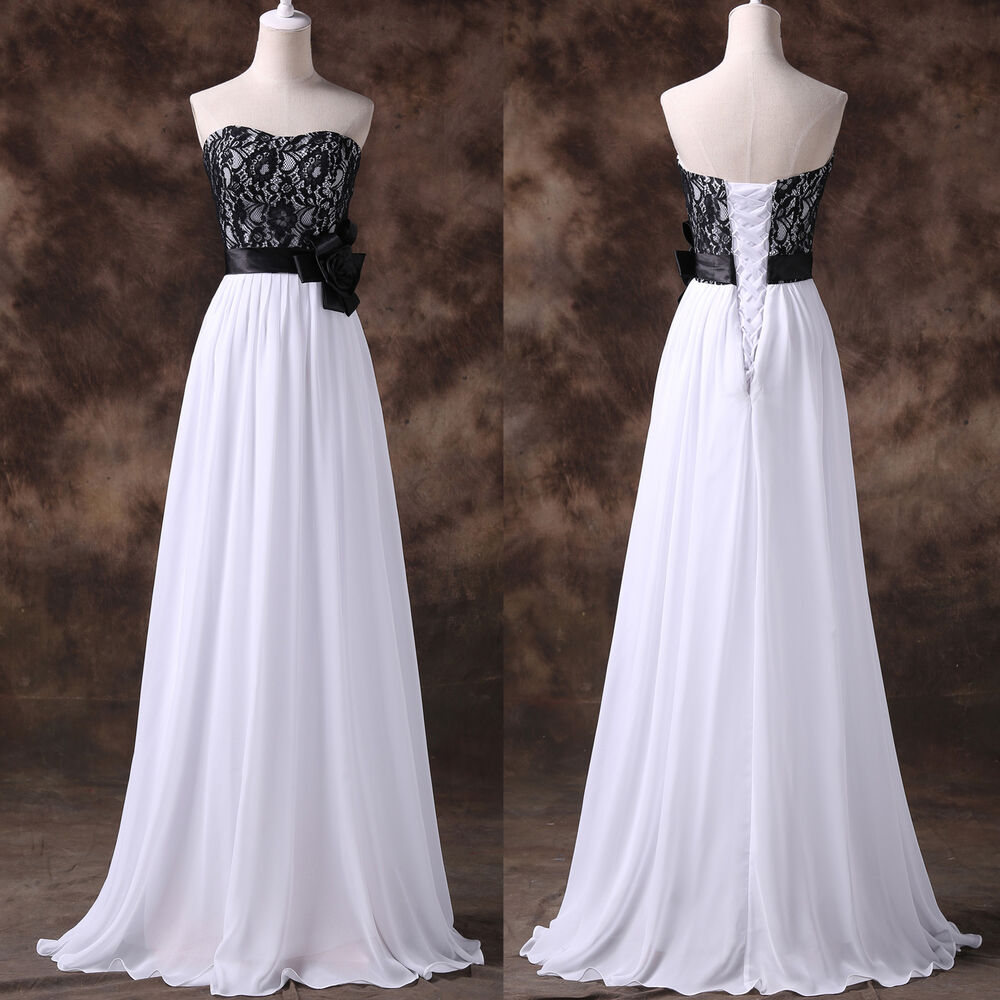 Black white long chiffon lace wedding evening dress prom for Ebay wedding bridesmaid dresses
