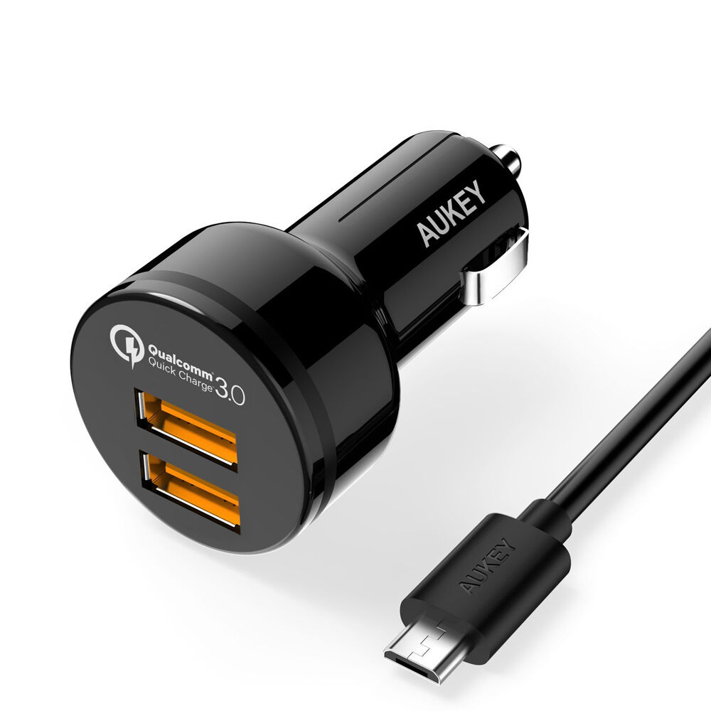 new aukey cc t8 qualcomm quick charge 3 0 2 port usb car. Black Bedroom Furniture Sets. Home Design Ideas