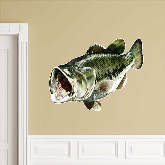 Largemouth bass wall decal peel and stick fish sticker for Bass fishing decals