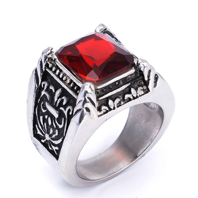 Mens Stainless Steel Rings Red Silver Vintage Jewelry Ruby Crystal