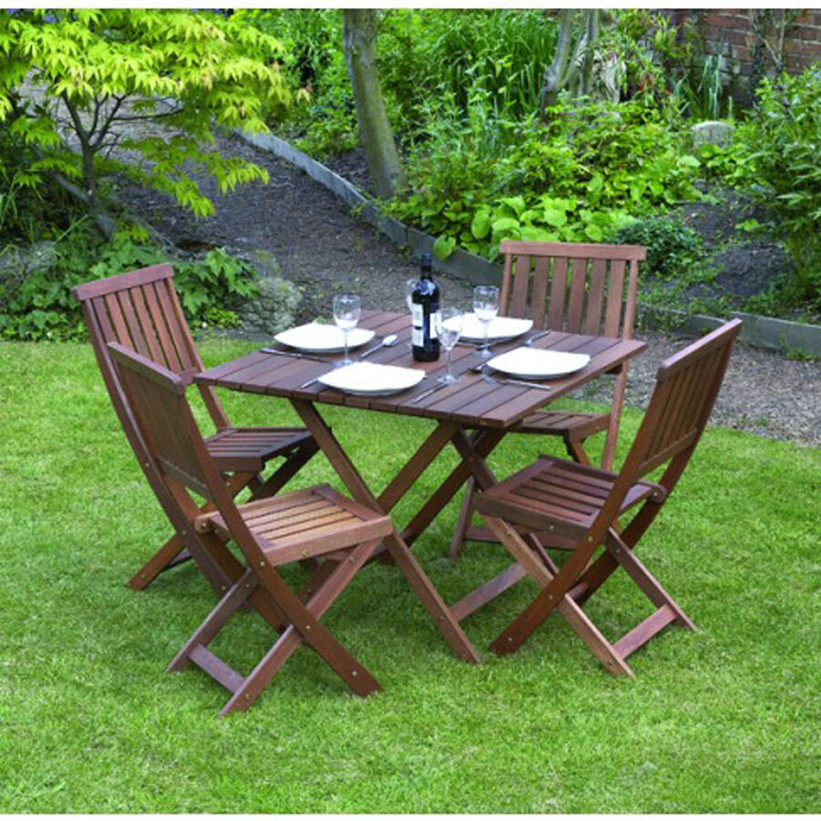Garden patio furniture set table chairs 5 piece folding for Patio furniture table set