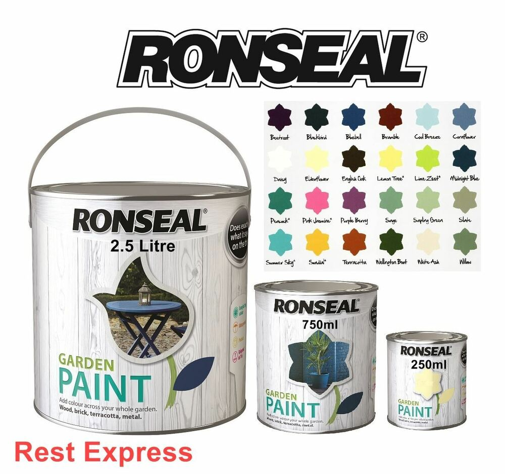 RONSEAL GARDEN PAINT For Wood Metal Brick Stone Terracotta Shed A