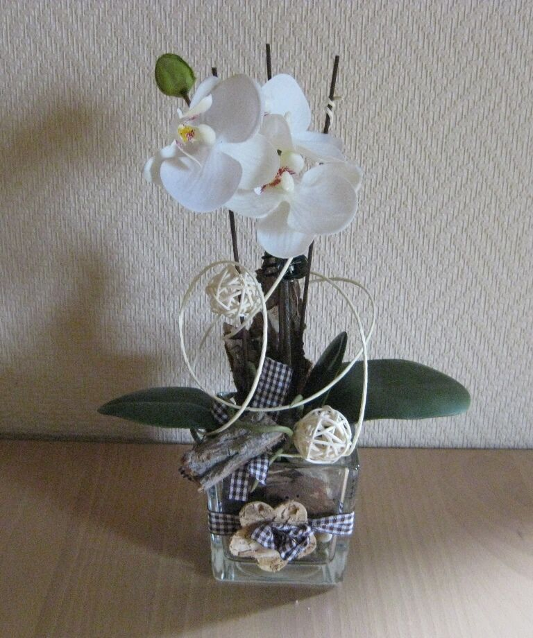 tischdeko floristik tischgesteck glas creme gr n orchidee geschenk w rfel ebay. Black Bedroom Furniture Sets. Home Design Ideas
