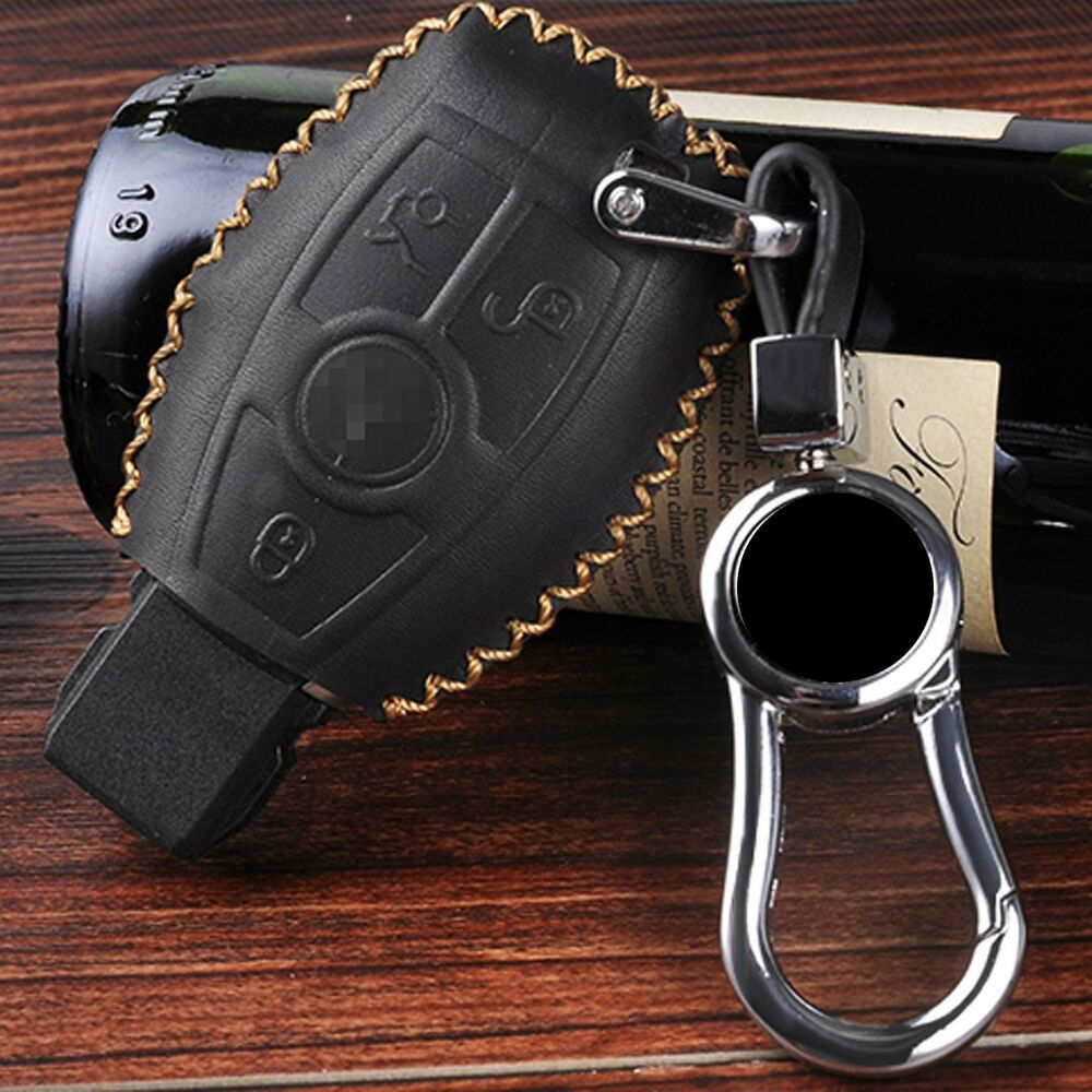 C9 leather car remote key fob case holder cover for for Mercedes benz key pouch