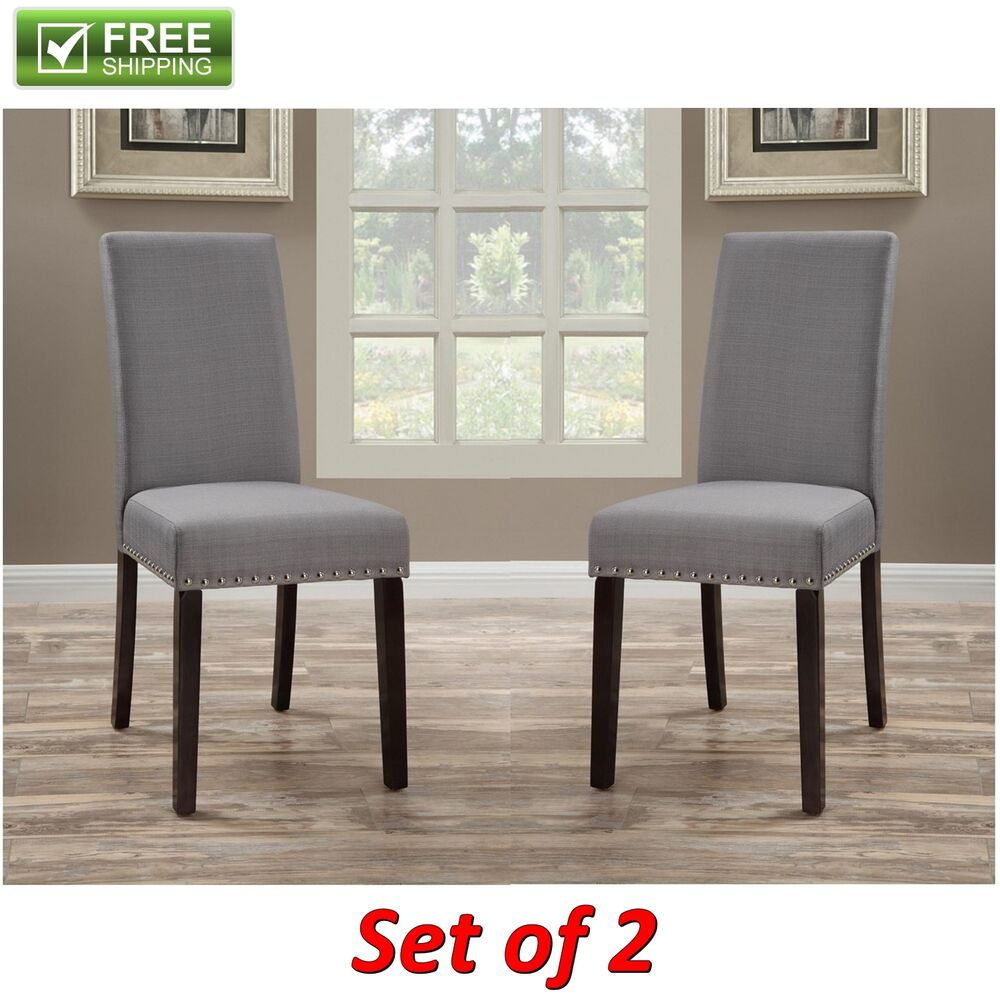 Upholstered Dining Chair Light Gray Set Of 2 Elegant