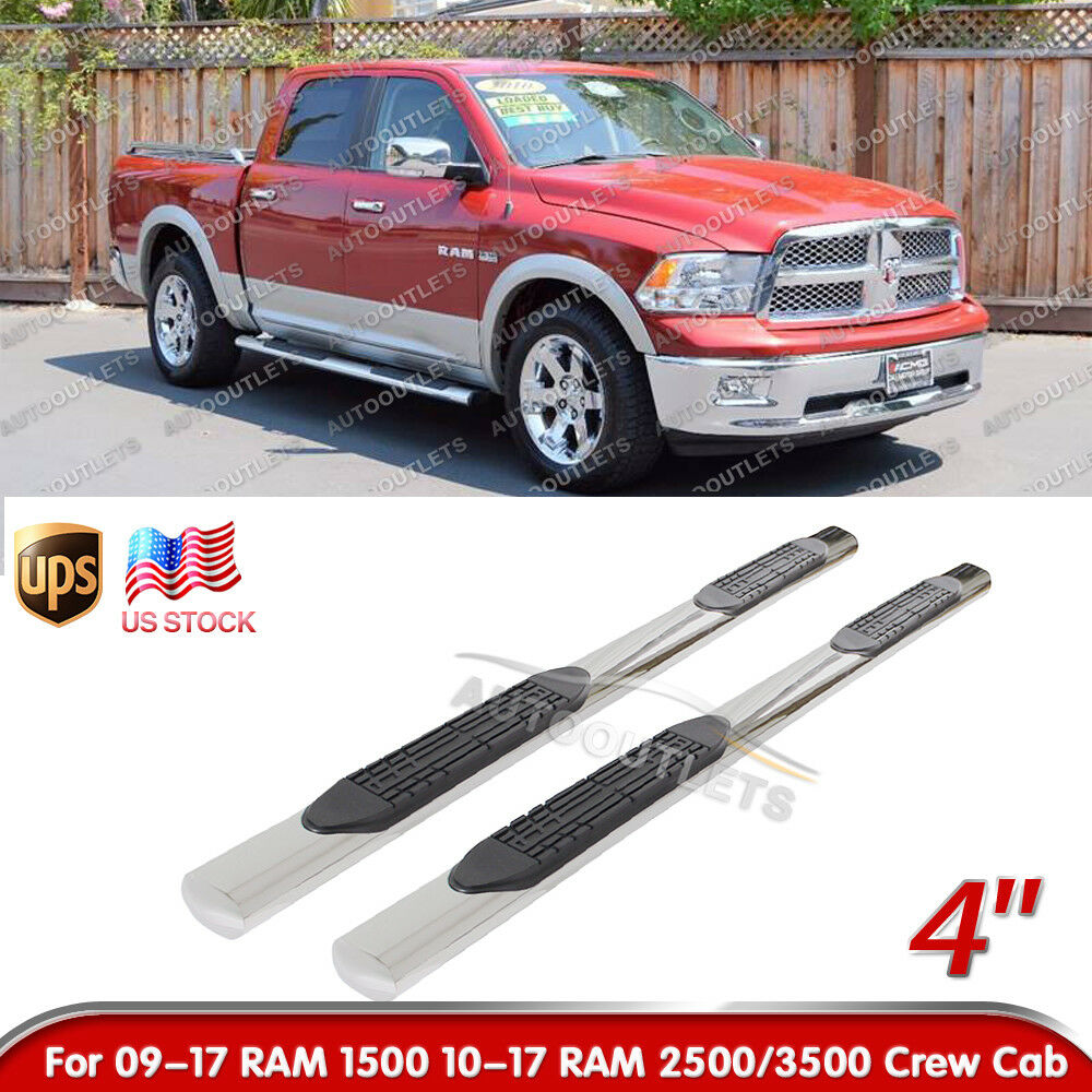 """2017 Ram 1500 Crew Cab Camshaft: 4"""" Side Step Nerf Bars Running Boards S/S For 2009-2017"""