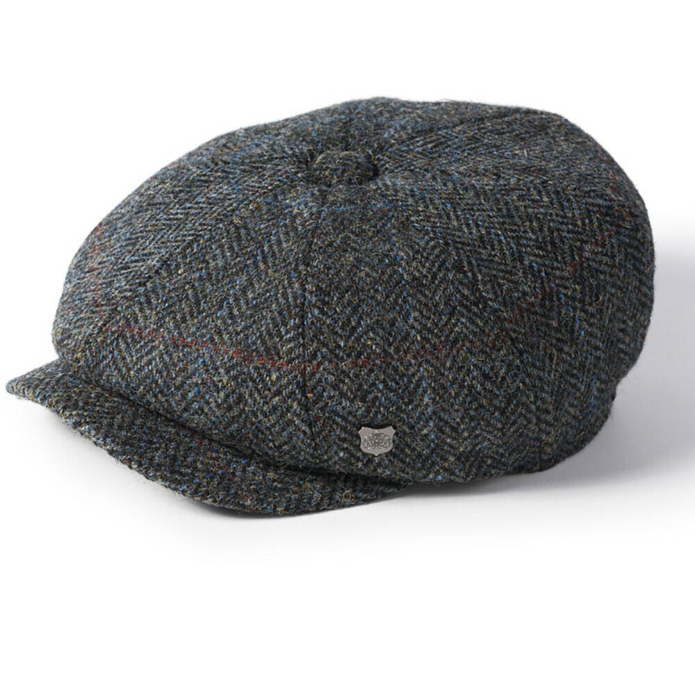 cfb76944369c08 Details about Failsworth Carloway Harris Tweed Blue Grey Peaky Blinders  Style Newsboy Cap Hat