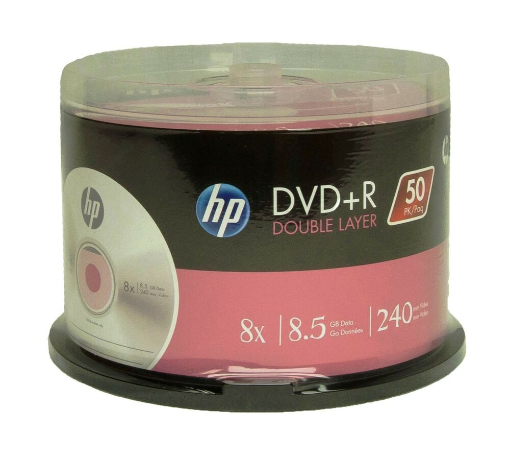 50 hp branded dvd r dl 8x 8 5gb 240 minute new free. Black Bedroom Furniture Sets. Home Design Ideas