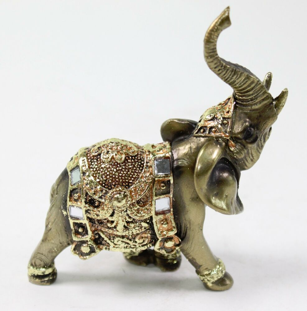 Feng shui bronze elephant trunk statue wealth lucky Eba home interior figurines