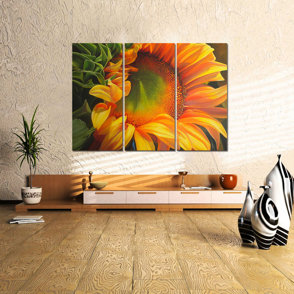 Us Ship Canvas Print Home Decor Wall Art Painting Sunflower Flora Framed Ebay