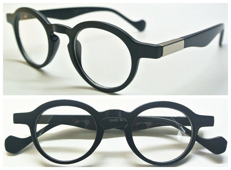 Matte Black Glasses Frame : 41mm Small Round Vintage Matte Black Eyeglass Frame Clear ...