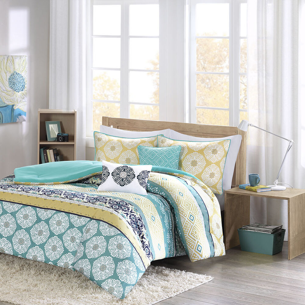 beautiful modern chic blue yellow green navy teal aqua bohemian comforter set ebay. Black Bedroom Furniture Sets. Home Design Ideas