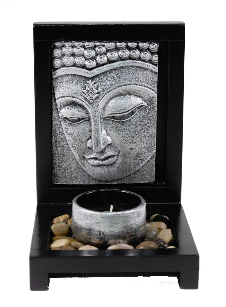 Tabletop silver buddha face zen garden rock candle holder for Home decor zen