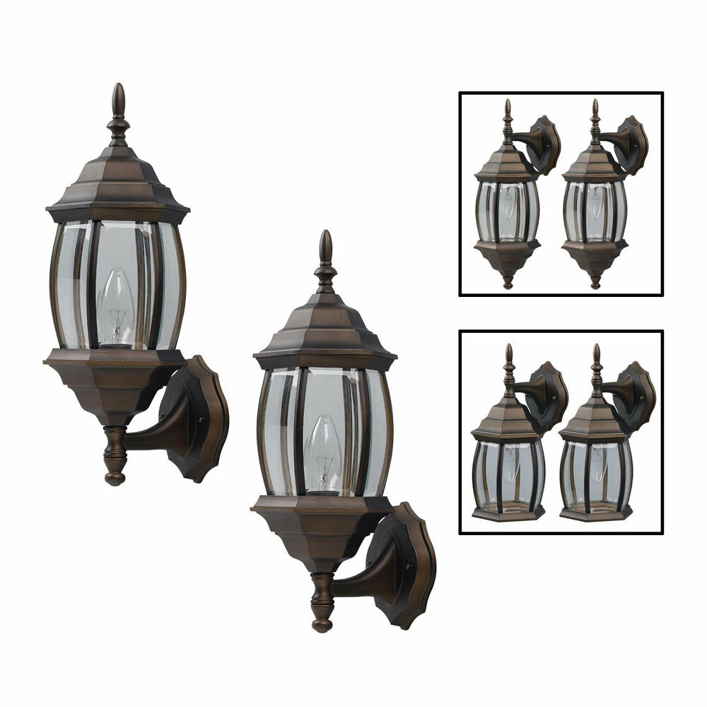 Exterior Outdoor Lantern Light Fixture Wall Sconce Twin Pack Oil Rubbed Bronze Ebay