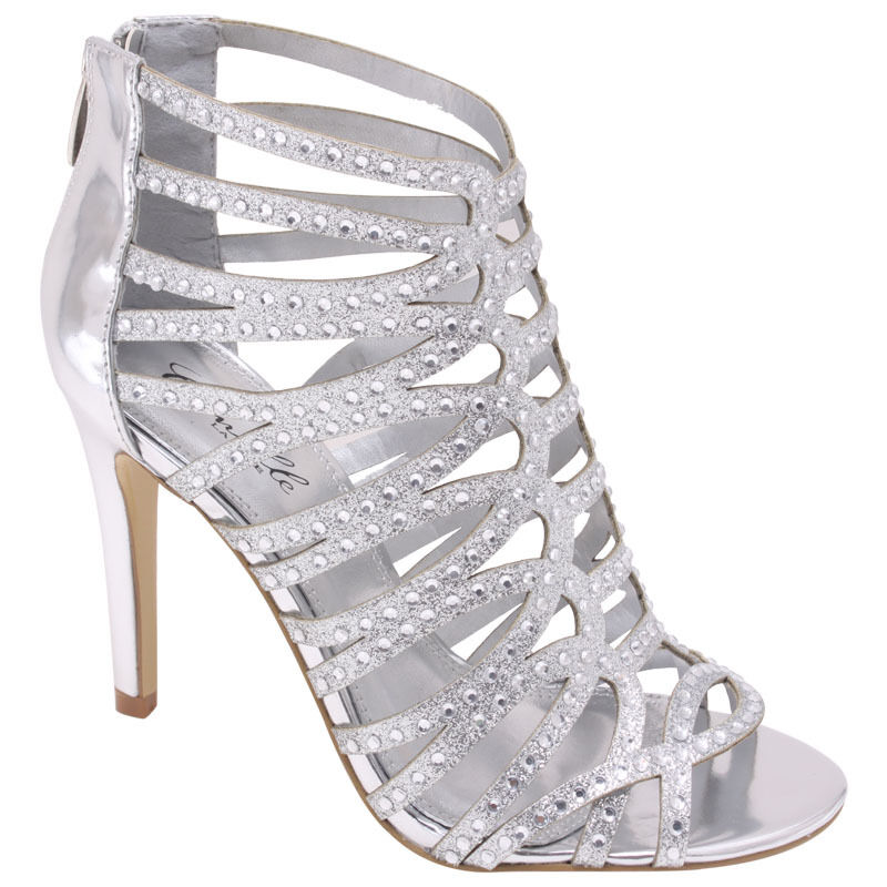 new silver high heel sandal bridal prom wedding formal
