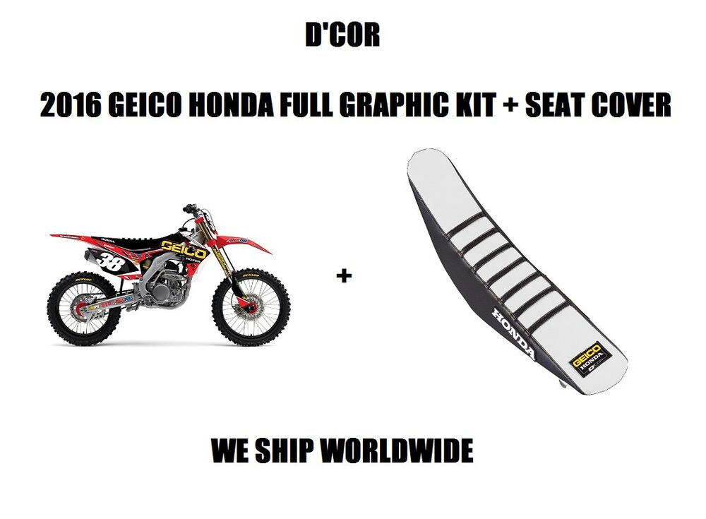 d 39 cor 2016 16 geico full graphic graphics kit seat cover 14 16 crf250r ebay. Black Bedroom Furniture Sets. Home Design Ideas