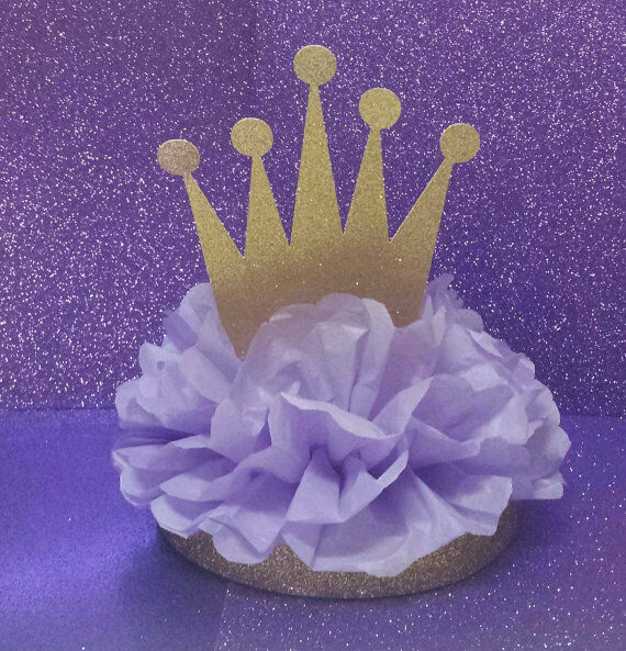 Princess purple gold royal centerpiece birthday party baby
